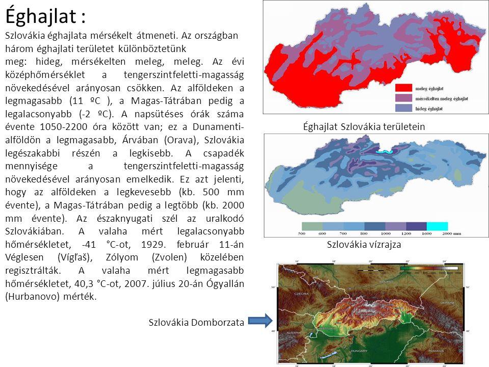 Éghajlat : Szlovákia éghajlata mérsékelt átmeneti. Az országban három éghajlati területet különböztetünk meg: hideg, mérsékelten meleg, meleg. Az évi