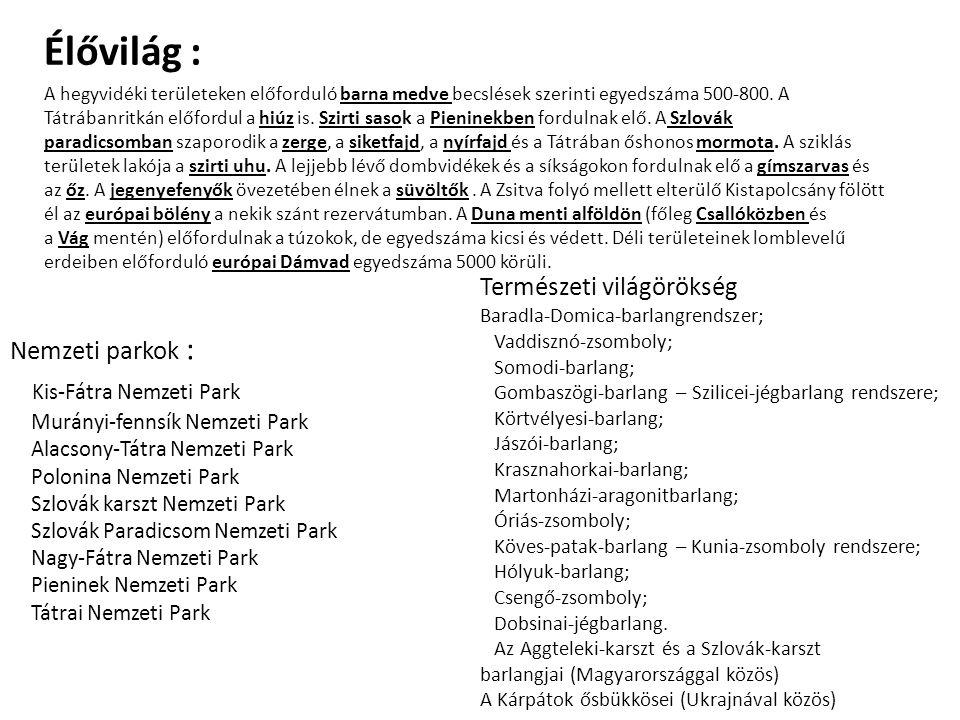 Nemzeti parkok : Kis-Fátra Nemzeti Park Murányi-fennsík Nemzeti Park Alacsony-Tátra Nemzeti Park Polonina Nemzeti Park Szlovák karszt Nemzeti Park Szlovák Paradicsom Nemzeti Park Nagy-Fátra Nemzeti Park Pieninek Nemzeti Park Tátrai Nemzeti Park Természeti világörökség Baradla-Domica-barlangrendszer; Vaddisznó-zsomboly; Somodi-barlang; Gombaszögi-barlang – Szilicei-jégbarlang rendszere; Körtvélyesi-barlang; Jászói-barlang; Krasznahorkai-barlang; Martonházi-aragonitbarlang; Óriás-zsomboly; Köves-patak-barlang – Kunia-zsomboly rendszere; Hólyuk-barlang; Csengő-zsomboly; Dobsinai-jégbarlang.