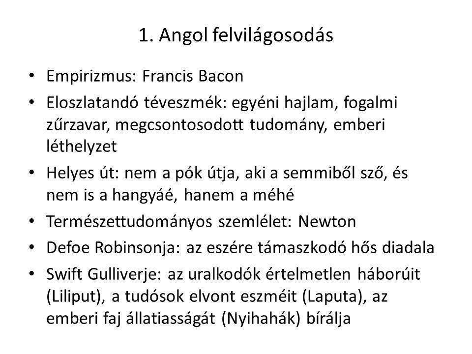 1. Angol felvilágosodás Empirizmus: Francis Bacon Eloszlatandó téveszmék: egyéni hajlam, fogalmi zűrzavar, megcsontosodott tudomány, emberi léthelyzet