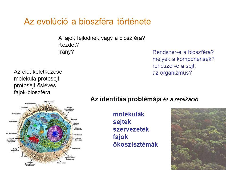 Az evolúció a bioszféra története A fajok fejlődnek vagy a bioszféra? Kezdet? Irány? Az identitás problémája és a replikáció molekulák sejtek szerveze