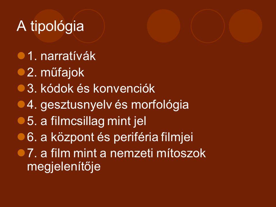 A tipológia 1. narratívák 2. műfajok 3. kódok és konvenciók 4. gesztusnyelv és morfológia 5. a filmcsillag mint jel 6. a központ és periféria filmjei