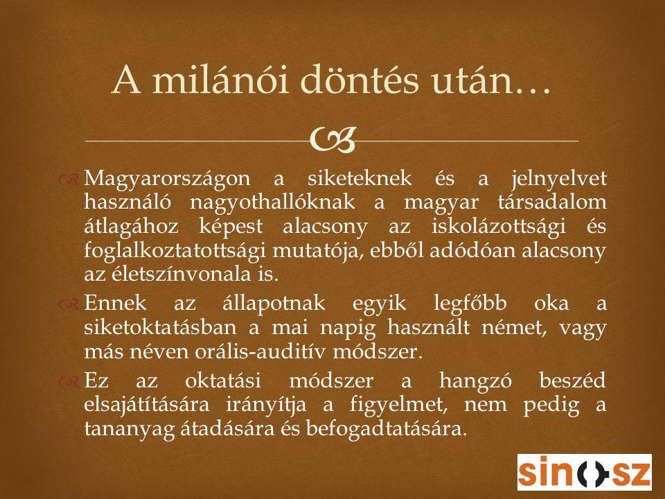   Magyarországon a siketeknek és a jelnyelvet használó nagyothallóknak a magyar társadalom átlagához képest alacsony az iskolázottsági és foglalkozt