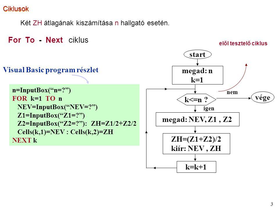4 Do - Loop While ciklus hátul tesztelő ciklus megad: n k=1 megad: NEV, Z1, Z2 ZH=(Z1+Z2)/2 kiír: NEV, ZH k=k+1 k<=n .