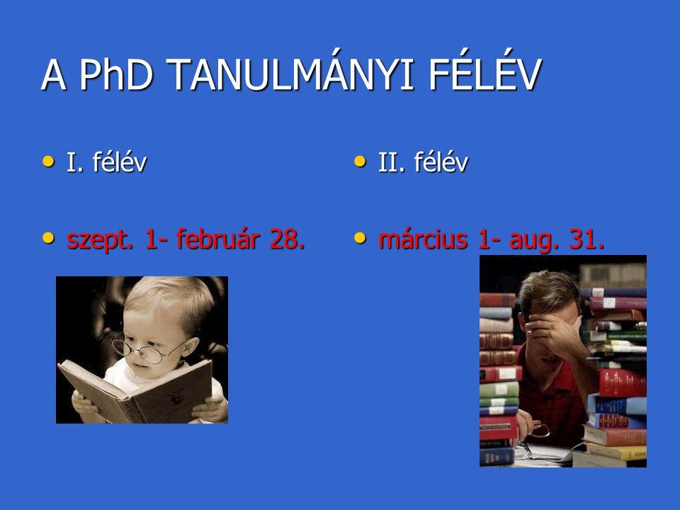 A PhD TANULMÁNYI FÉLÉV I. félév I. félév szept. 1- február 28. szept. 1- február 28. II. félév II. félév március 1- aug. 31. március 1- aug. 31.