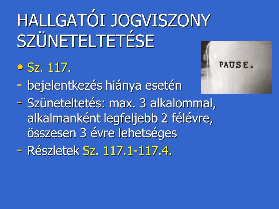HALLGATÓI JOGVISZONY SZÜNETELTETÉSE Sz. 117. Sz. 117. - bejelentkezés hiánya esetén - Szüneteltetés: max. 3 alkalommal, alkalmanként legfeljebb 2 félé