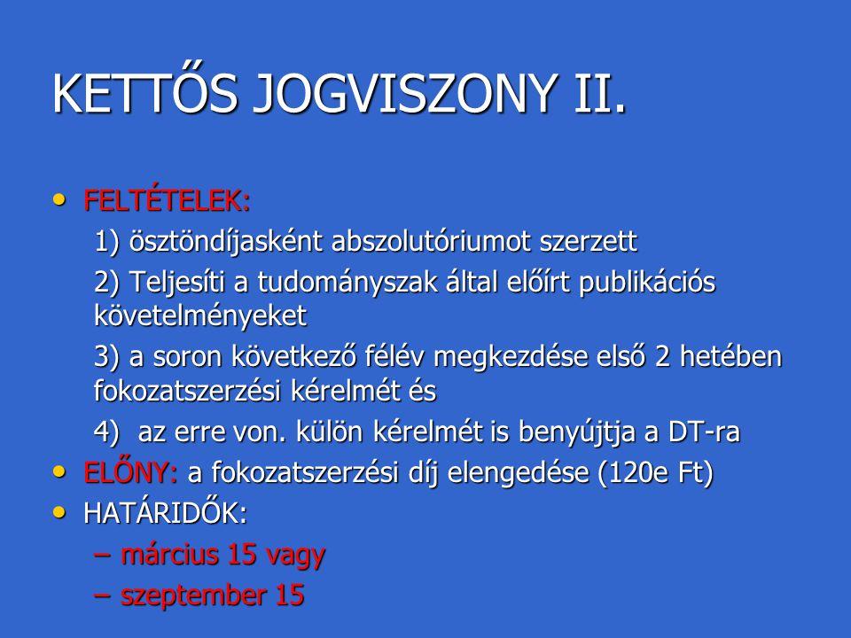 KETTŐS JOGVISZONY II. FELTÉTELEK: FELTÉTELEK: 1) ösztöndíjasként abszolutóriumot szerzett 2) Teljesíti a tudományszak által előírt publikációs követel