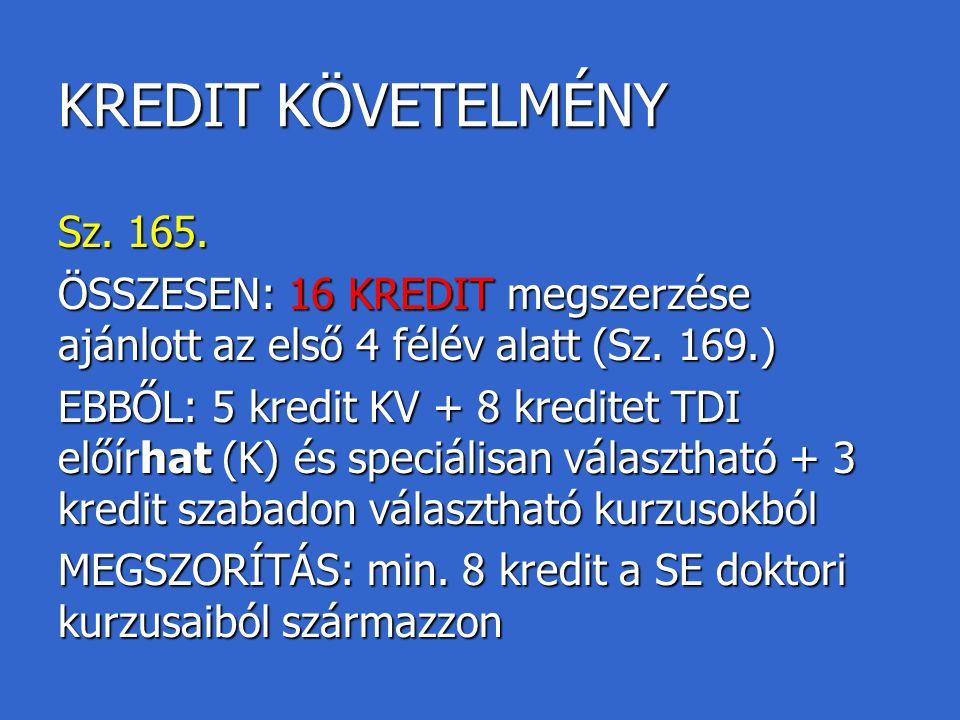KREDIT KÖVETELMÉNY Sz. 165. ÖSSZESEN: 16 KREDIT megszerzése ajánlott az első 4 félév alatt (Sz. 169.) EBBŐL: 5 kredit KV + 8 kreditet TDI előírhat (K)