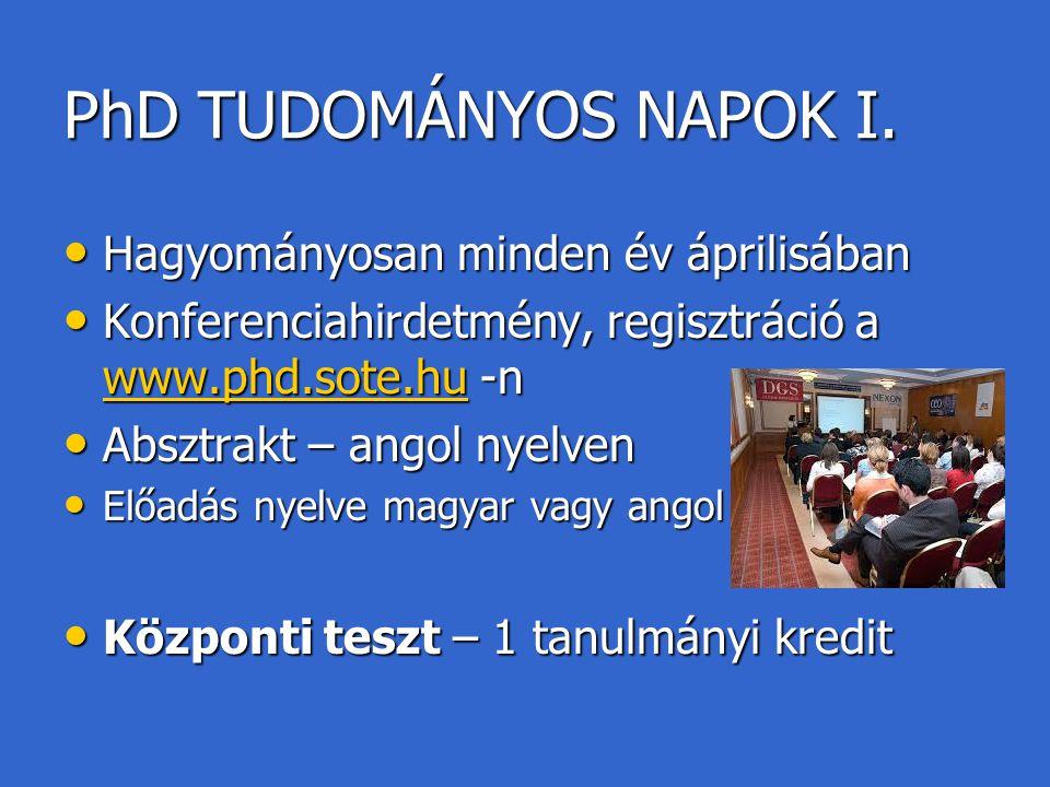 PhD TUDOMÁNYOS NAPOK I. Hagyományosan minden év áprilisában Hagyományosan minden év áprilisában Konferenciahirdetmény, regisztráció a www.phd.sote.hu