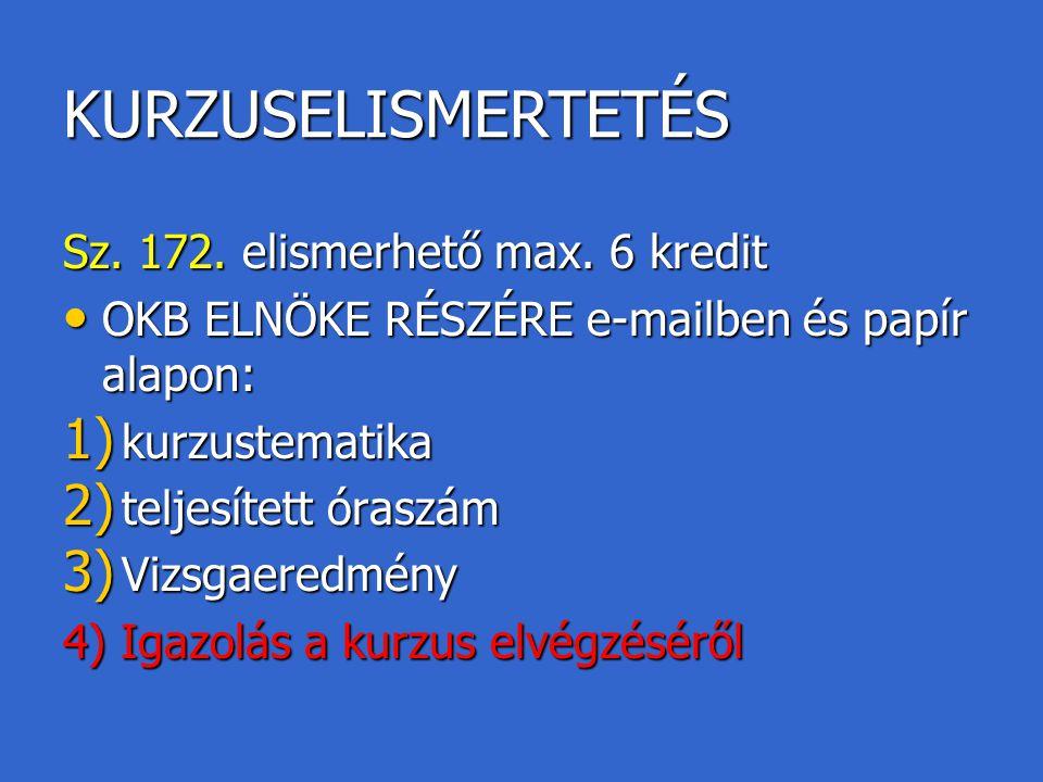 KURZUSELISMERTETÉS Sz. 172. elismerhető max. 6 kredit OKB ELNÖKE RÉSZÉRE e-mailben és papír alapon: OKB ELNÖKE RÉSZÉRE e-mailben és papír alapon: 1) k