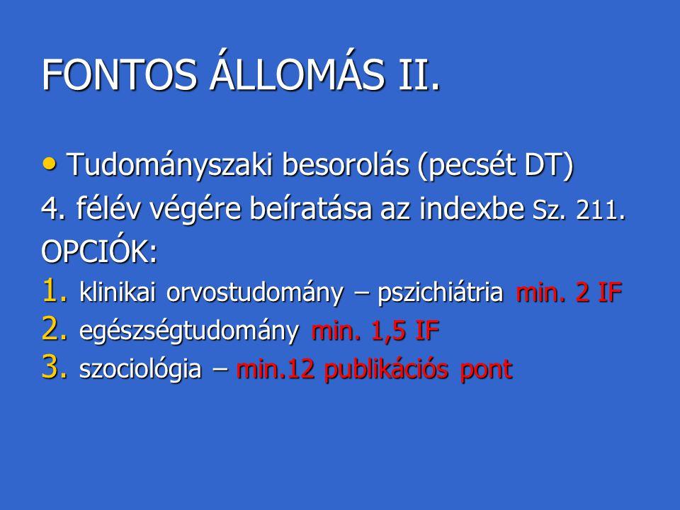 FONTOS ÁLLOMÁS II. Tudományszaki besorolás (pecsét DT) Tudományszaki besorolás (pecsét DT) 4. félév végére beíratása az indexbe Sz. 211. OPCIÓK: 1. kl