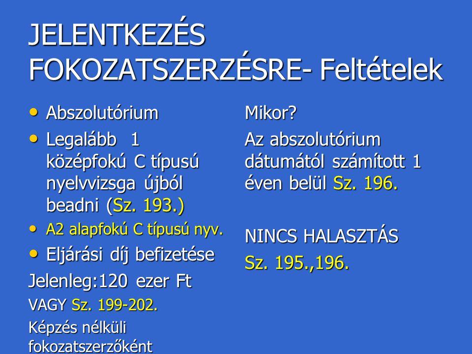 JELENTKEZÉS FOKOZATSZERZÉSRE- Feltételek Abszolutórium Abszolutórium Legalább 1 középfokú C típusú nyelvvizsga újból beadni (Sz. 193.) Legalább 1 közé