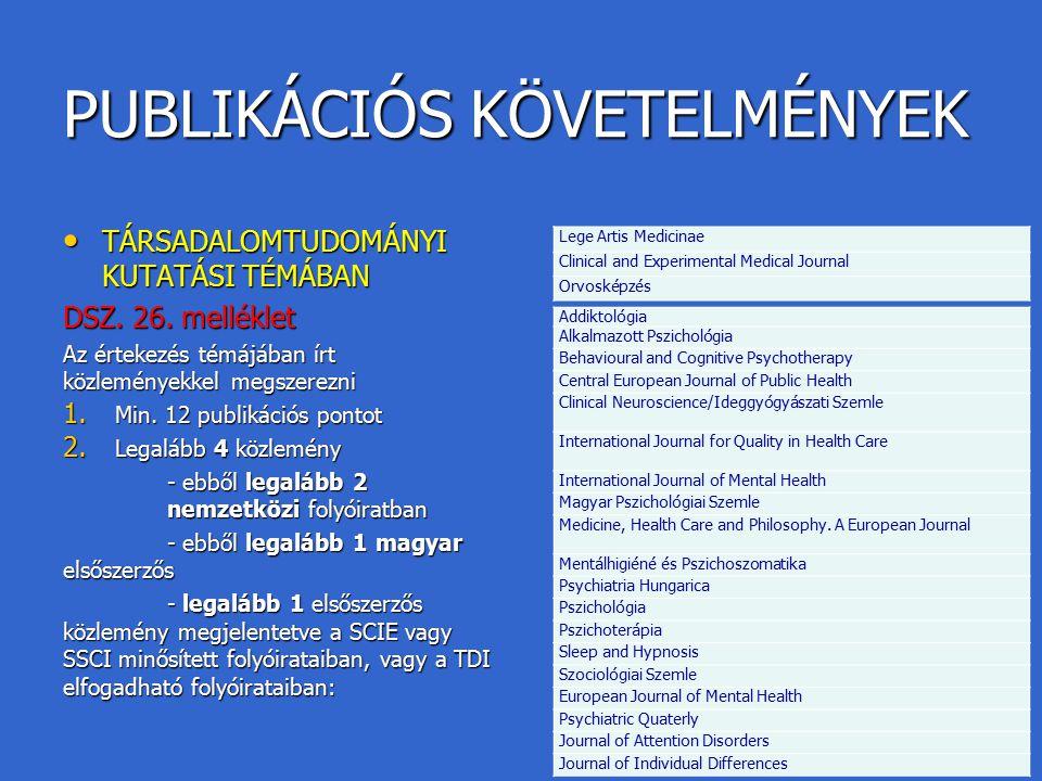 PUBLIKÁCIÓS KÖVETELMÉNYEK TÁRSADALOMTUDOMÁNYI KUTATÁSI TÉMÁBAN TÁRSADALOMTUDOMÁNYI KUTATÁSI TÉMÁBAN DSZ. 26. melléklet Az értekezés témájában írt közl