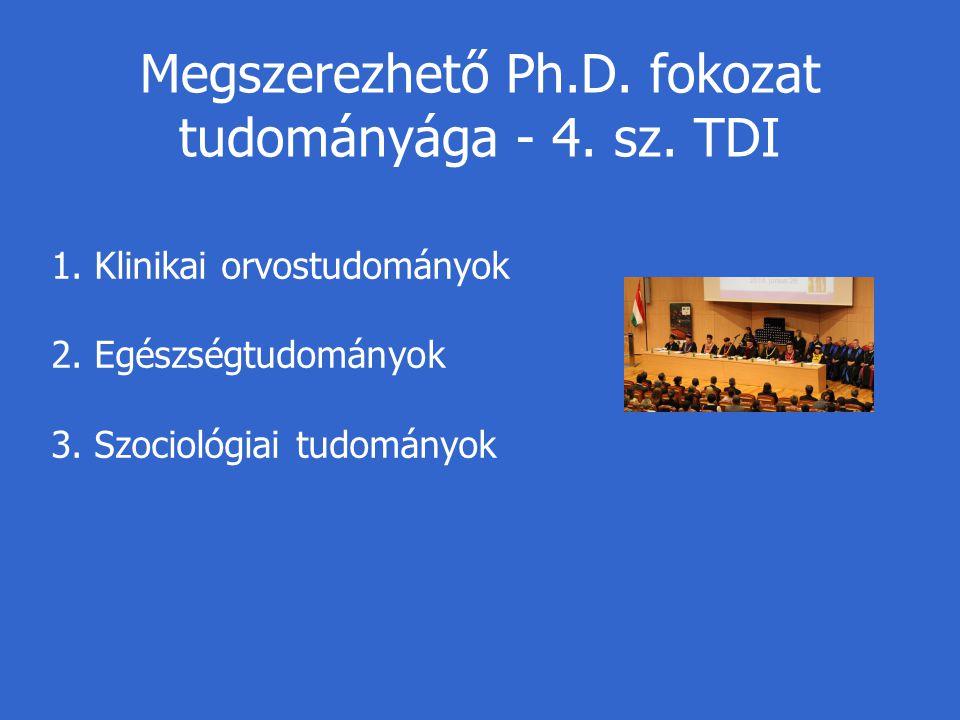 Megszerezhető Ph.D. fokozat tudományága - 4. sz. TDI 1. Klinikai orvostudományok 2. Egészségtudományok 3. Szociológiai tudományok