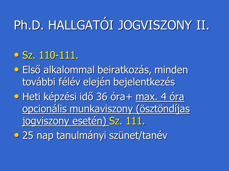Ph.D. HALLGATÓI JOGVISZONY II. Sz. 110-111. Sz. 110-111. Első alkalommal beiratkozás, minden további félév elején bejelentkezés Első alkalommal beirat