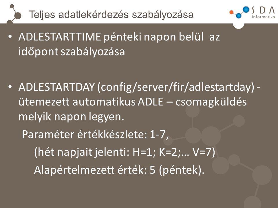 Teljes adatlekérdezés szabályozása ADLESTARTTIME pénteki napon belül az időpont szabályozása ADLESTARTDAY (config/server/fir/adlestartday) - ütemezett automatikus ADLE – csomagküldés melyik napon legyen.
