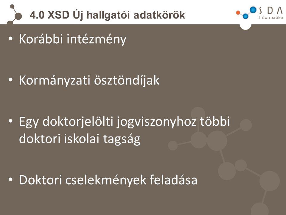 4.0 XSD Új hallgatói adatkörök Korábbi intézmény Kormányzati ösztöndíjak Egy doktorjelölti jogviszonyhoz többi doktori iskolai tagság Doktori cselekmények feladása