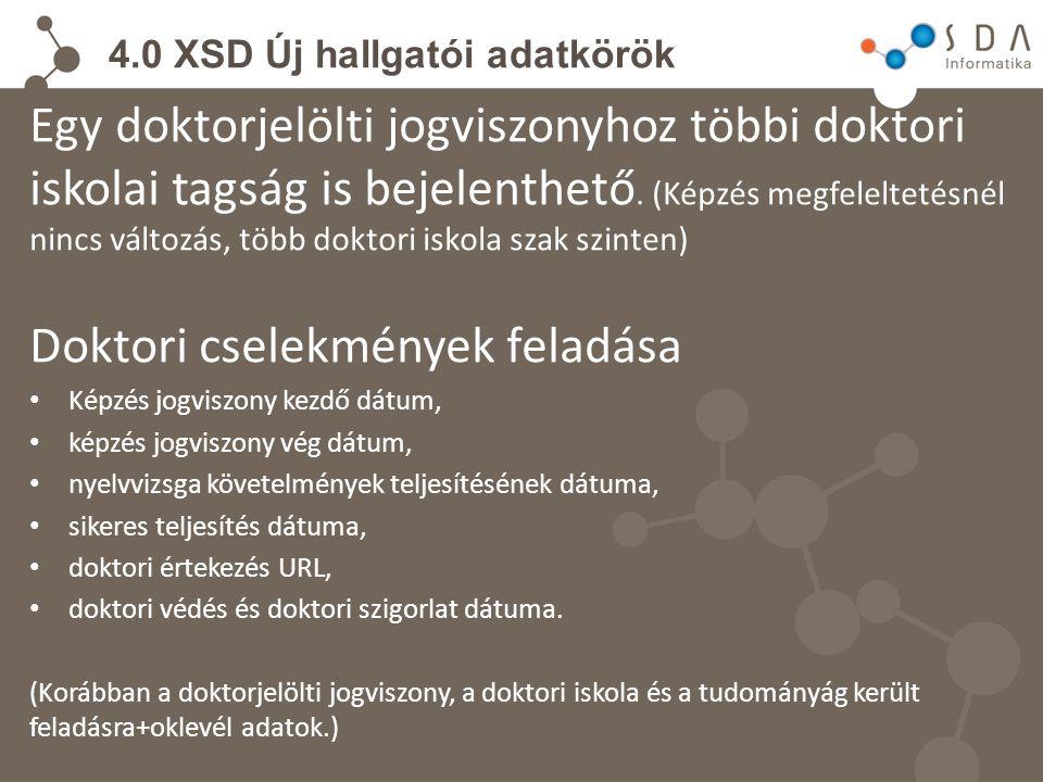 4.0 XSD Új hallgatói adatkörök Egy doktorjelölti jogviszonyhoz többi doktori iskolai tagság is bejelenthető.