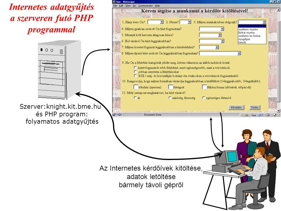 Vegyészmérnöki Konferencia 2002., Kolozsvár Internetes adatgyűjtés a szerveren futó PHP programmal Szerver:knight.kit.bme.hu és PHP program: folyamato
