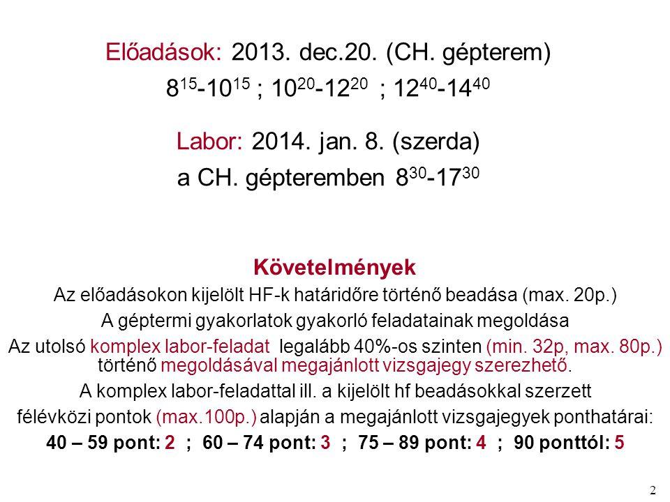 2 Előadások: 2013. dec.20. (CH. gépterem) 8 15 -10 15 ; 10 20 -12 20 ; 12 40 -14 40 Labor: 2014. jan. 8. (szerda) a CH. gépteremben 8 30 -17 30 Követe