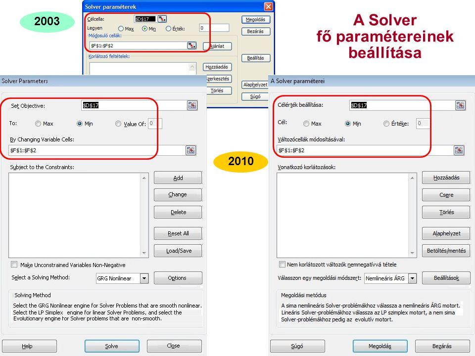 27 A Solver fő paramétereinek beállítása 2003 2010