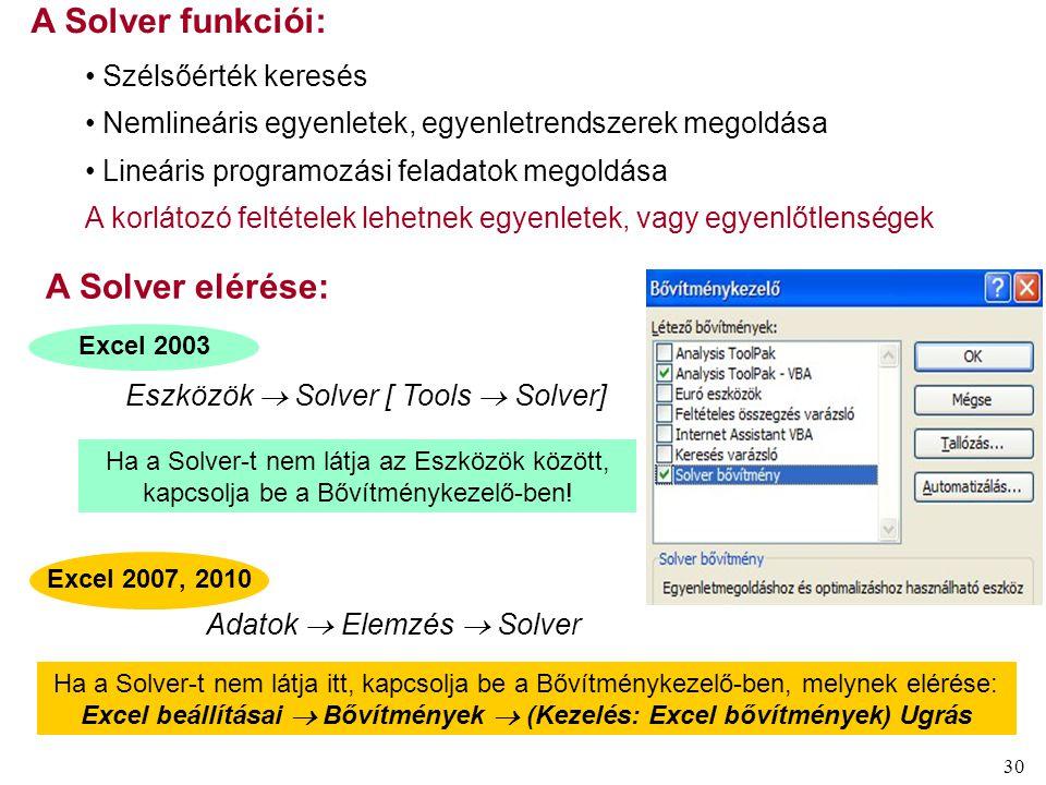 30 Ha a Solver-t nem látja az Eszközök között, kapcsolja be a Bővítménykezelő-ben! Excel 2003 A Solver funkciói: Szélsőérték keresés Nemlineáris egyen