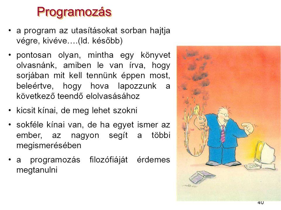 40 ProgramozásProgramozás a program az utasításokat sorban hajtja végre, kivéve….(ld. később) pontosan olyan, mintha egy könyvet olvasnánk, amiben le