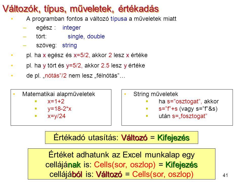 41 A programban fontos a változó típusa a műveletek miatt –egész : integer –tört: single, double –szöveg: string xxxpl. ha x egész és x=5/2, akkor 2 l