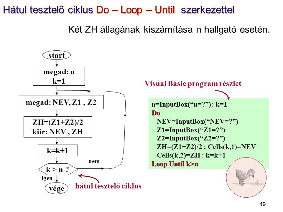 "49 n=InputBox(""n=?""): k=1Do NEV=InputBox(""NEV=?"") Z1=InputBox(""Z1=?"") Z2=InputBox(""Z2=?"") ZH=(Z1+Z2)/2 : Cells(k,1)=NEV Cells(k,2)=ZH : k=k+1 Loop Unt"