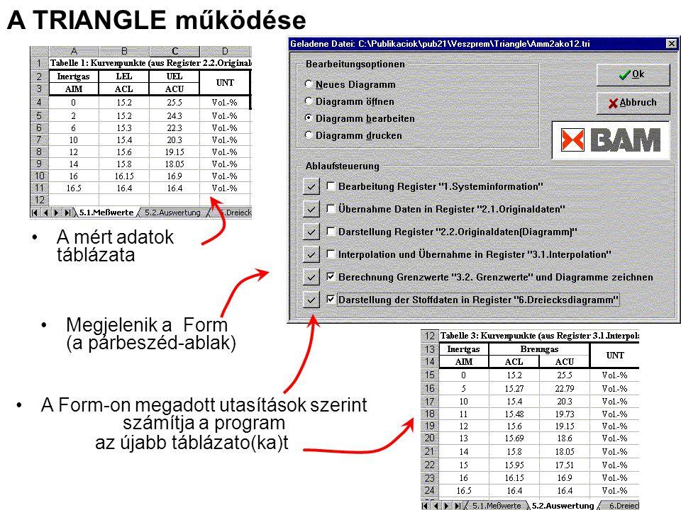 A mért adatok táblázata Megjelenik a Form (a párbeszéd-ablak) A Form-on megadott utasítások szerint számítja a program az újabb táblázato(ka)t A TRIAN