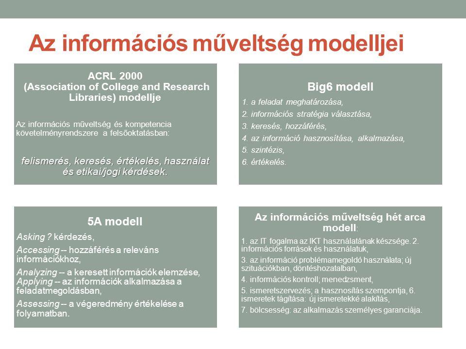 Az információs műveltség modelljei ACRL 2000 (Association of College and Research Libraries) modellje Az információs műveltség és kompetencia követelm
