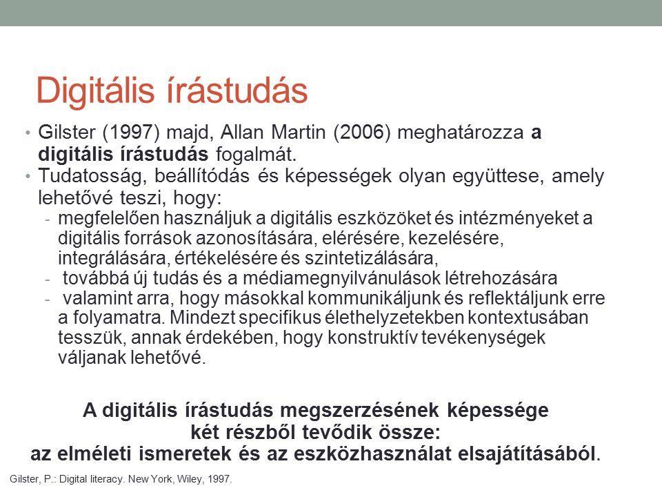 Digitális írástudás Gilster (1997) majd, Allan Martin (2006) meghatározza a digitális írástudás fogalmát. Tudatosság, beállítódás és képességek olyan