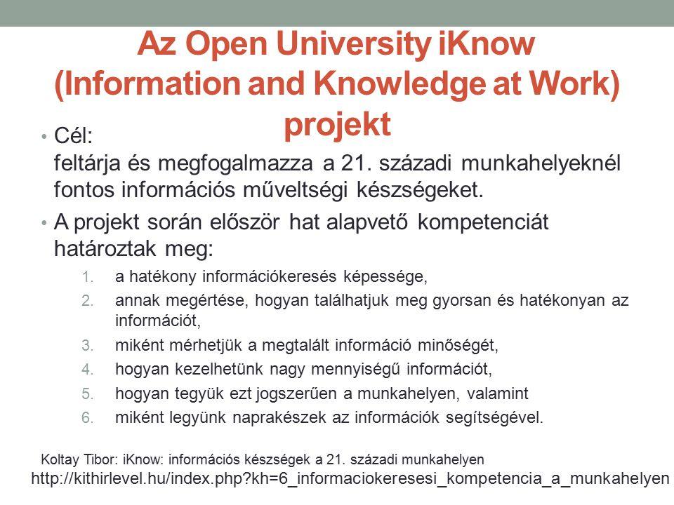 Az Open University iKnow (Information and Knowledge at Work) projekt Cél: feltárja és megfogalmazza a 21. századi munkahelyeknél fontos információs mű