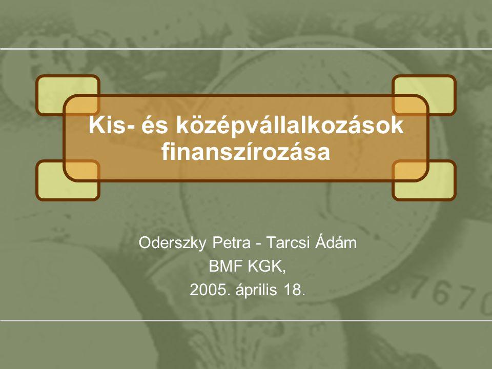Kis- és középvállalkozások finanszírozása, Oderszky Petra, Tarcsi Ádám, BMF-KGK, Gazdasági Informatika szak 2 Tartalomjegyzék Kis- és középvállalkozások helyzete Magyarországon - Petra Problematikájuk - Ádám Finanszírozási lehetőségek – Ádám –Bankok szempontjából –Állami lehetőségek