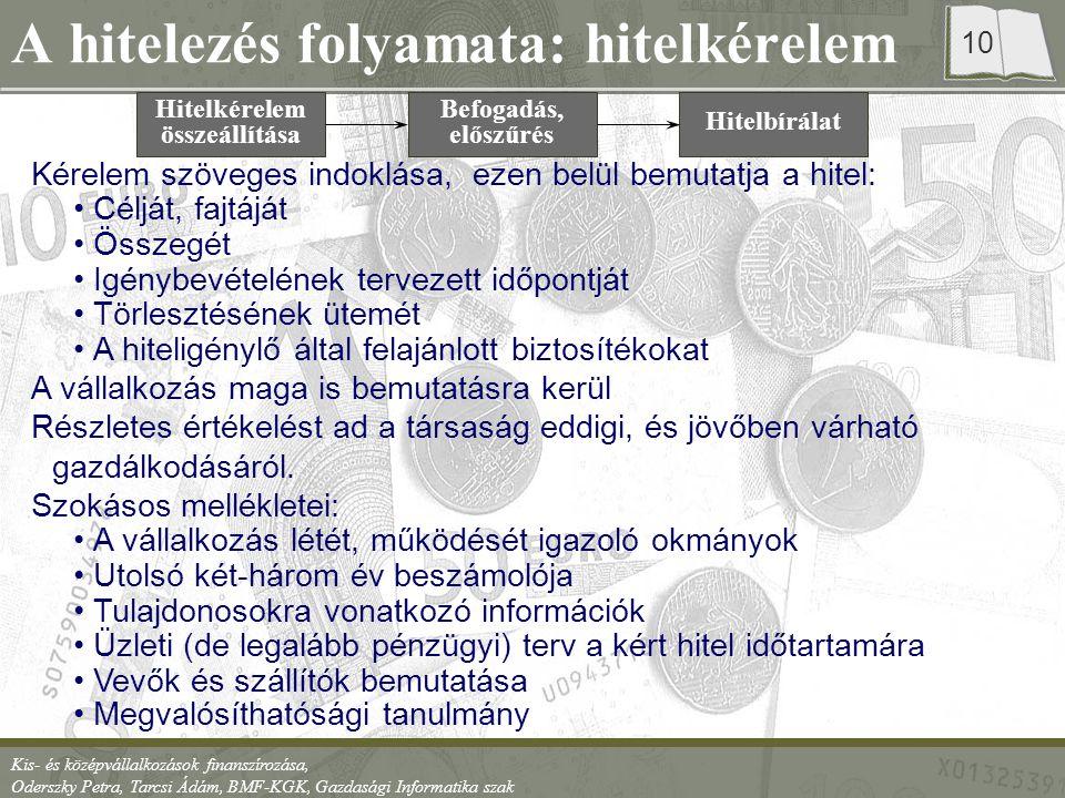 Kis- és középvállalkozások finanszírozása, Oderszky Petra, Tarcsi Ádám, BMF-KGK, Gazdasági Informatika szak 10 Kérelem szöveges indoklása, ezen belül