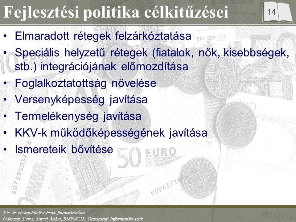 Kis- és középvállalkozások finanszírozása, Oderszky Petra, Tarcsi Ádám, BMF-KGK, Gazdasági Informatika szak 14 Fejlesztési politika célkitűzései Elmaradott rétegek felzárkóztatása Speciális helyzetű rétegek (fiatalok, nők, kisebbségek, stb.) integrációjának előmozdítása Foglalkoztatottság növelése Versenyképesség javítása Termelékenység javítása KKV-k működőképességének javítása Ismereteik bővítése