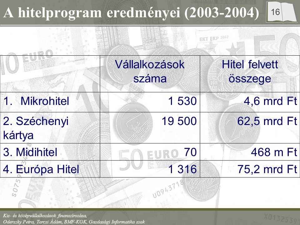 Kis- és középvállalkozások finanszírozása, Oderszky Petra, Tarcsi Ádám, BMF-KGK, Gazdasági Informatika szak 16 A hitelprogram eredményei (2003-2004) V