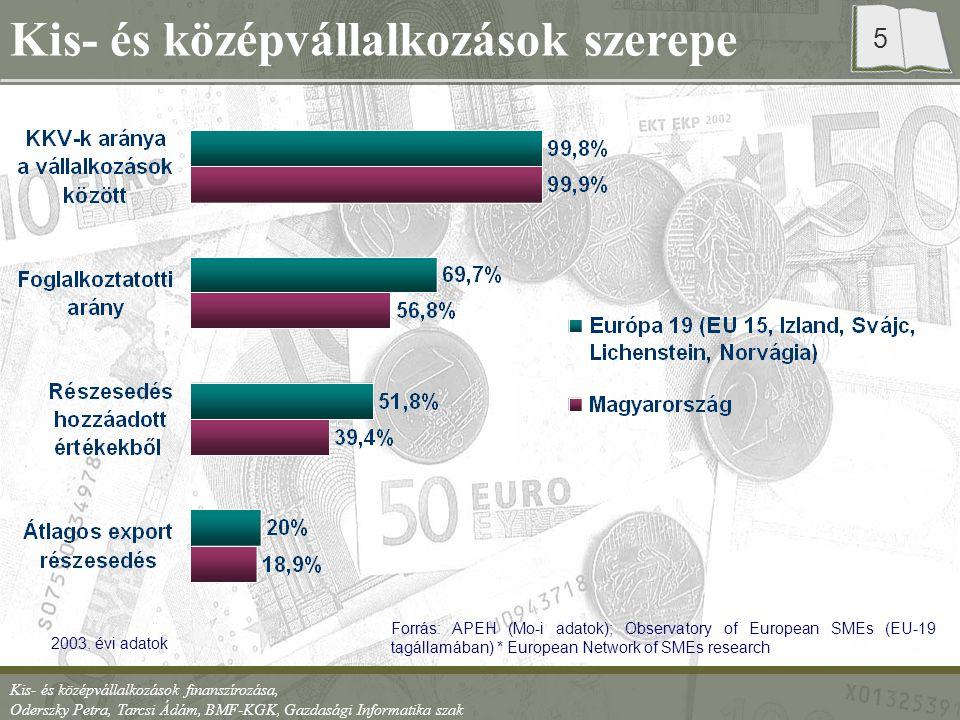 Kis- és középvállalkozások finanszírozása, Oderszky Petra, Tarcsi Ádám, BMF-KGK, Gazdasági Informatika szak 6 KKV-k helyzete (2004) Ágazat Vállalkozások száma (ezer) Ágazati részesedés a GDP-ből (%) Ipar15040 Kereskedelem és szolgáltatás 40080