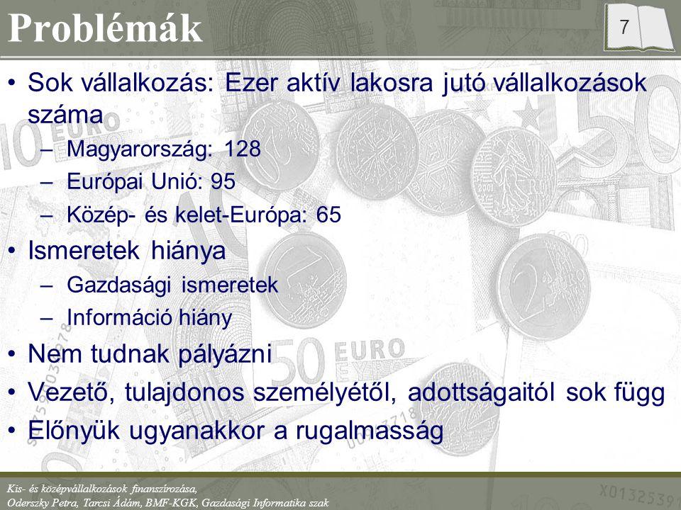 Kis- és középvállalkozások finanszírozása, Oderszky Petra, Tarcsi Ádám, BMF-KGK, Gazdasági Informatika szak 8 Forrásteremtés Saját források Idegen –Kölcsön (baráti), –Vevői előleg –Szállítói hitelek –Üzletrész értékesítésével –Bankhitel –Állami, EU-s támogatások –Faktoring –Lízing