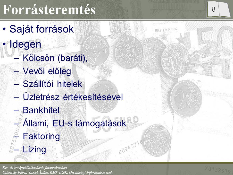 Kis- és középvállalkozások finanszírozása, Oderszky Petra, Tarcsi Ádám, BMF-KGK, Gazdasági Informatika szak 9 Bankok szempontjából Magasabb kockázat, mint a nagyvállalkozások Forgótőke hitel ritkábban Üzleti és pénzügyi terv Ne legyen hitel-, köztartozása a vállalkozásnak BAR adóslista Több éve működjön Gyakran a tulajdonos korábbi cégeit is vizsgálják Szállítók, vevők vizsgálata Ne legyen negatív saját tőkéje