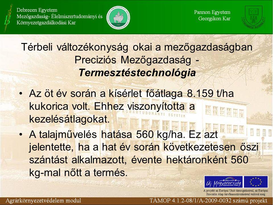 Térbeli változékonyság okai a mezőgazdaságban Preciziós Mezőgazdaság - Termesztéstechnológia Az öt év során a kísérlet főátlaga 8.159 t/ha kukorica vo