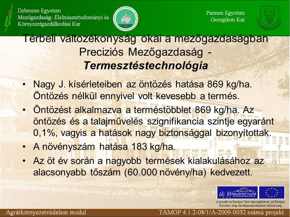 Térbeli változékonyság okai a mezőgazdaságban Preciziós Mezőgazdaság - Termesztéstechnológia Nagy J. kísérleteiben az öntözés hatása 869 kg/ha. Öntözé