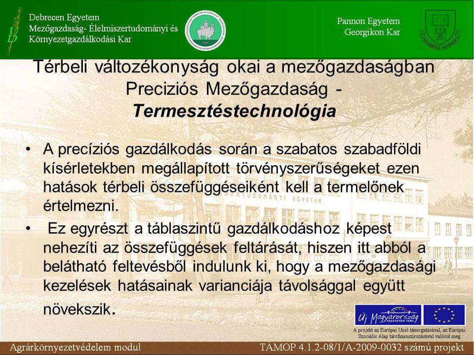 Térbeli változékonyság okai a mezőgazdaságban Preciziós Mezőgazdaság - Termesztéstechnológia A precíziós gazdálkodás során a szabatos szabadföldi kísé