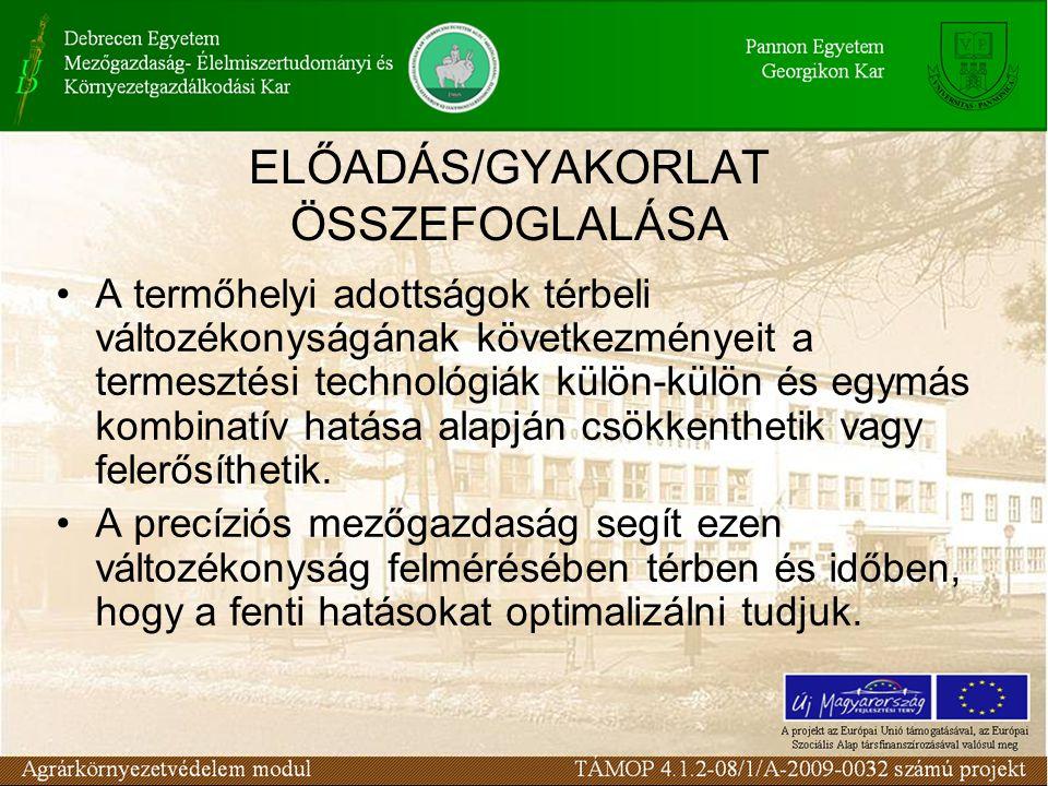 ELŐADÁS/GYAKORLAT ÖSSZEFOGLALÁSA A termőhelyi adottságok térbeli változékonyságának következményeit a termesztési technológiák külön-külön és egymás k