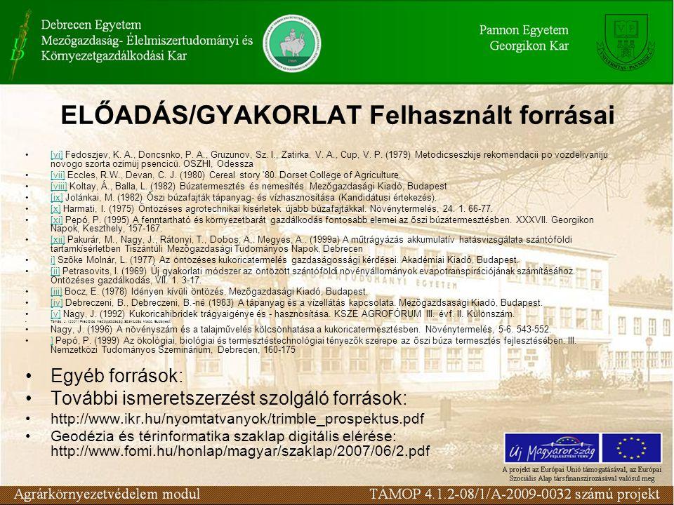 ELŐADÁS/GYAKORLAT Felhasznált forrásai [vi] Fedoszjev, K. A., Doncsnko, P. A., Gruzunov, Sz. I., Zatirka, V. A., Cup, V. P. (1979) Metodicseszkije rek
