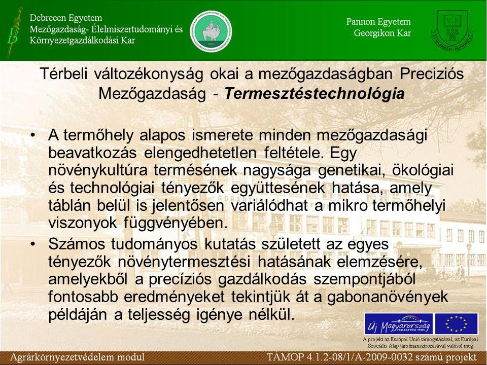 Térbeli változékonyság okai a mezőgazdaságban Preciziós Mezőgazdaság - Termesztéstechnológia A különböző növénytermesztési tényezők együtthatását az 1960-as évek kutatási eredményei alapján, Magyarországon elsőnek Győrffy B.