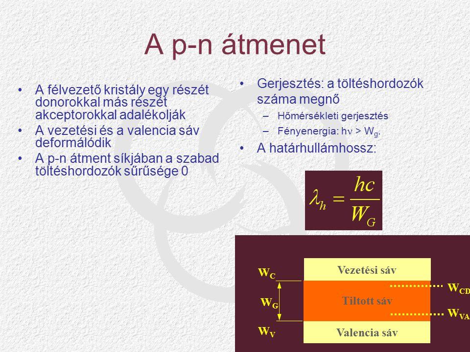 Fotoellenállások Kvantumhatásfok: –Az egy fotonra jutó elektron- lyuk pár –Egynél kisebb.