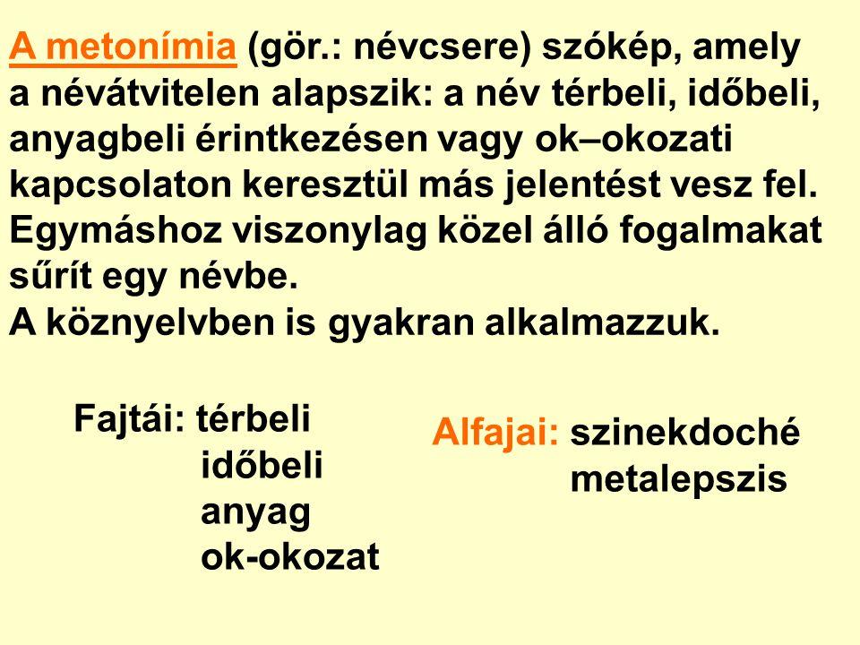 A metonímia (gör.: névcsere) szókép, amely a névátvitelen alapszik: a név térbeli, időbeli, anyagbeli érintkezésen vagy ok–okozati kapcsolaton keresztül más jelentést vesz fel.