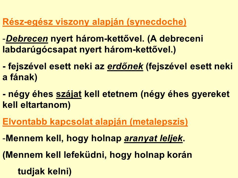 Rész-egész viszony alapján (synecdoche) -Debrecen nyert három-kettővel.