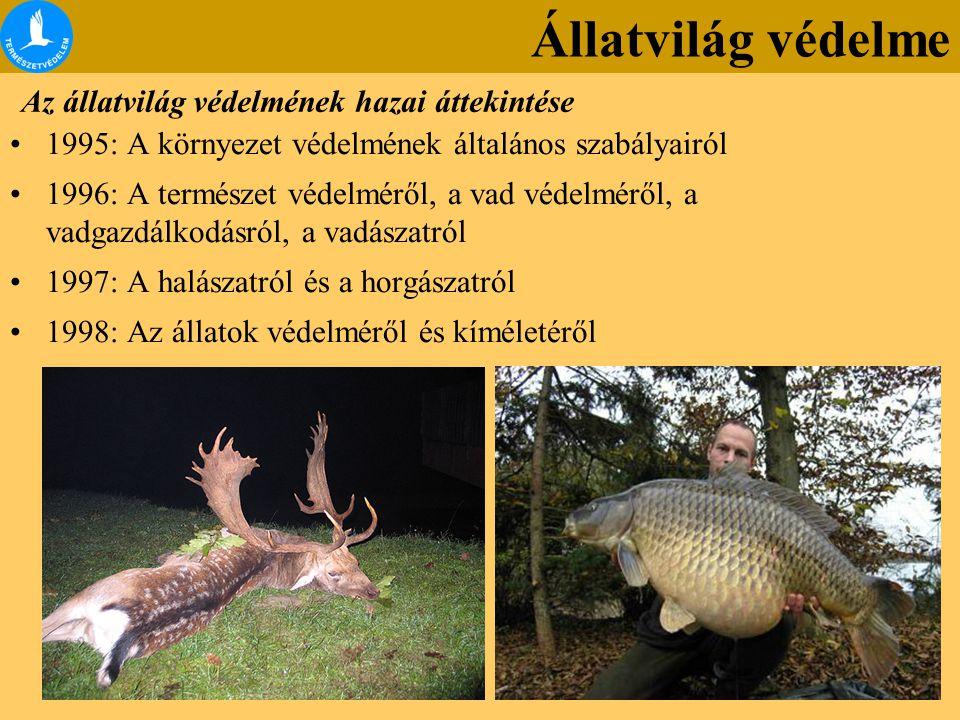 Az állatvilág védelmének hazai áttekintése 1995: A környezet védelmének általános szabályairól 1996: A természet védelméről, a vad védelméről, a vadga