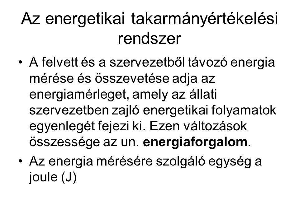 Az energetikai takarmányértékelési rendszer A felvett és a szervezetből távozó energia mérése és összevetése adja az energiamérleget, amely az állati